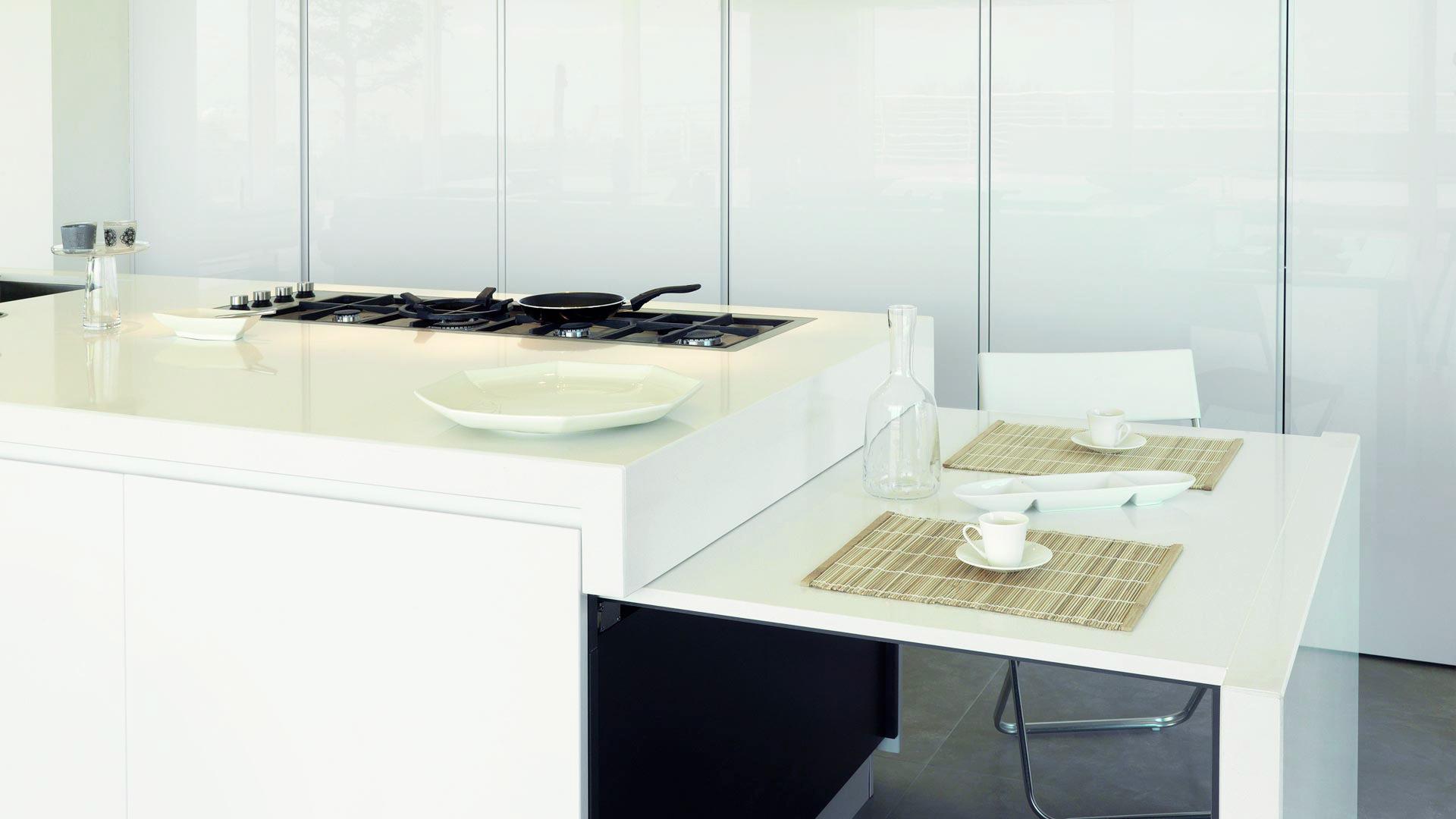 Cucina Living Open Space Con Tavolo A Scomparsa Estraibile