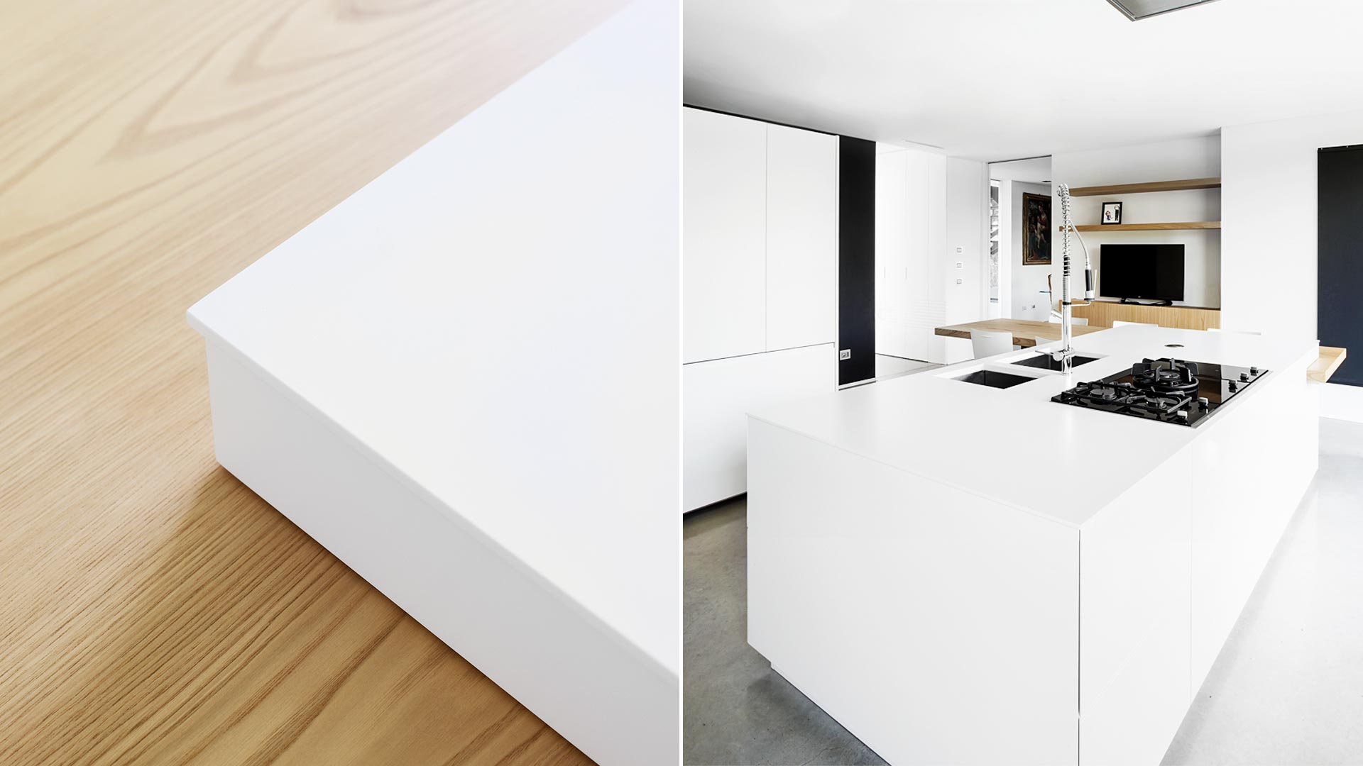 Cucina design con isola con piano in quarzo