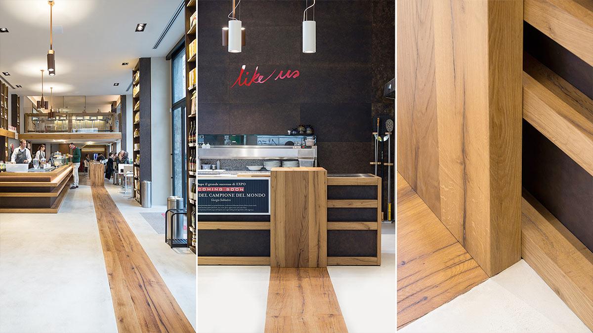 Tm Italia - Love IT Flagship Store Piano terra dettaglio bancone in rovere