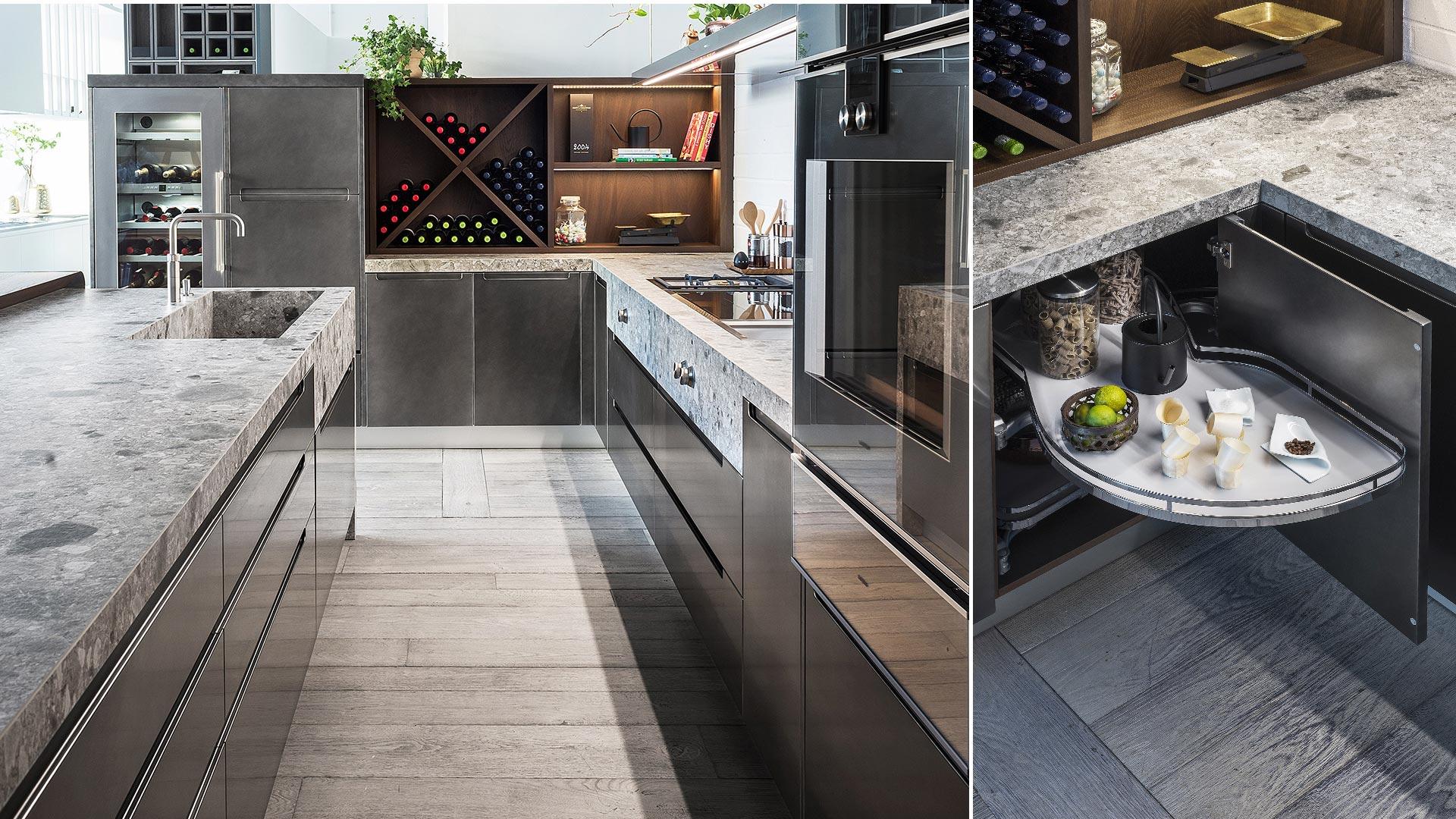 Cucina con isola in Gres, legno e metallo 4